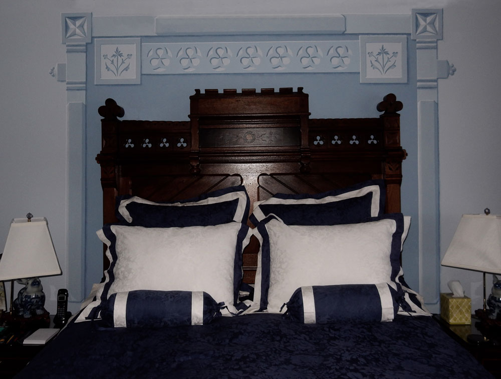Background with bed in place
