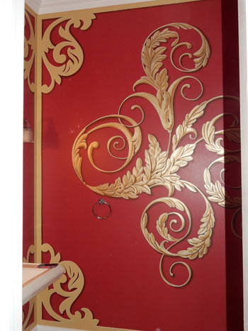 Red walls with gold blocked