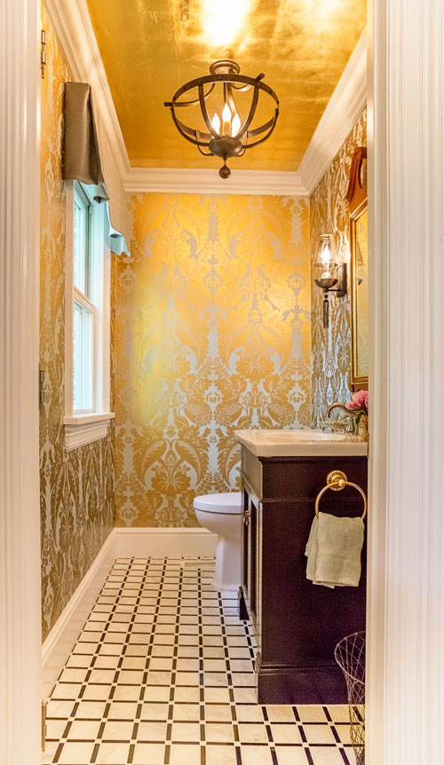 Gold Leaf bathroom on Property Brothers
