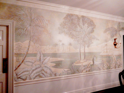Tropical mural on pantry wall