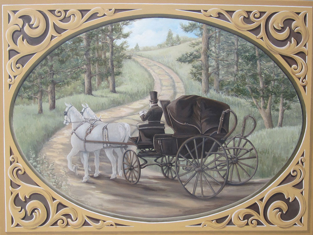 Horse and buggy painting