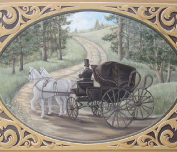 Canvas painting of buggy driving up the lane