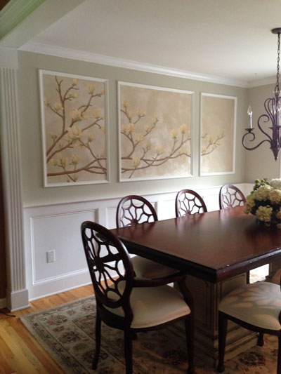 Finished wall in dining room