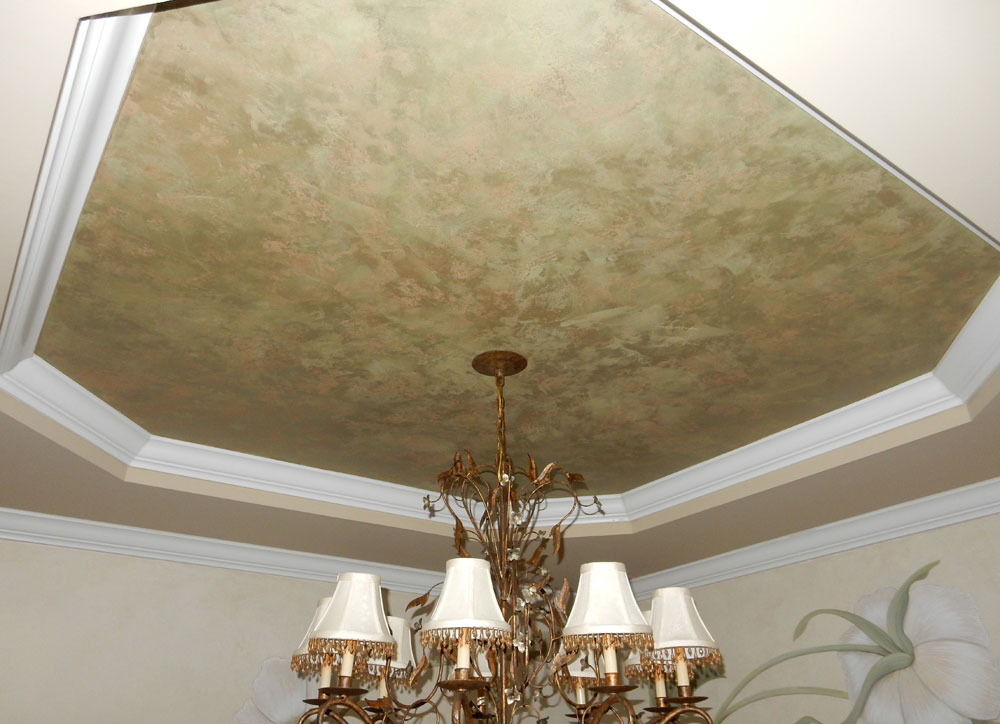 Close up of plaster tray ceiling