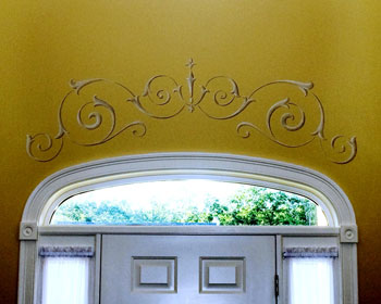 Tracery adorns front door