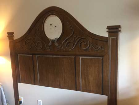 Headboard with wood grain done