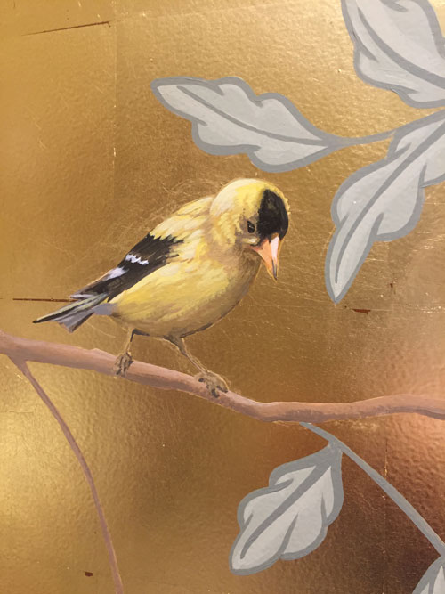 Gold leaf with bird