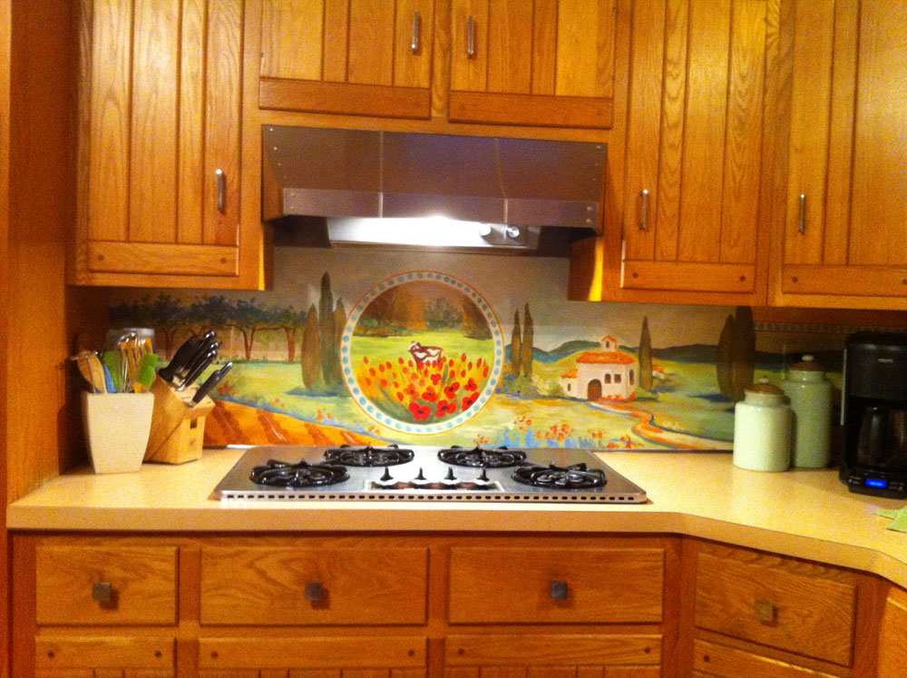 Farm painted backsplash