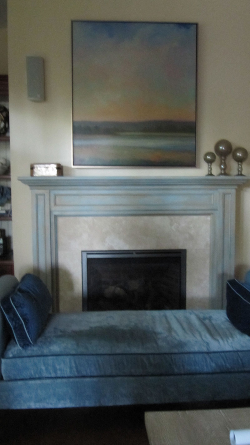 Blue and cream fireplace