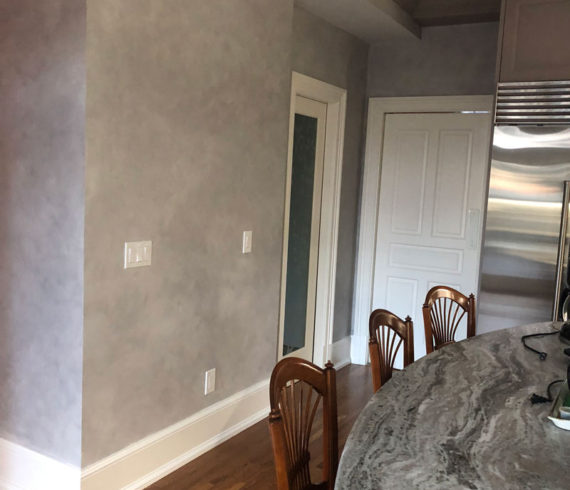 Gray glazed kitchen walls