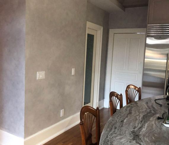 Gray glazed kitchen walls