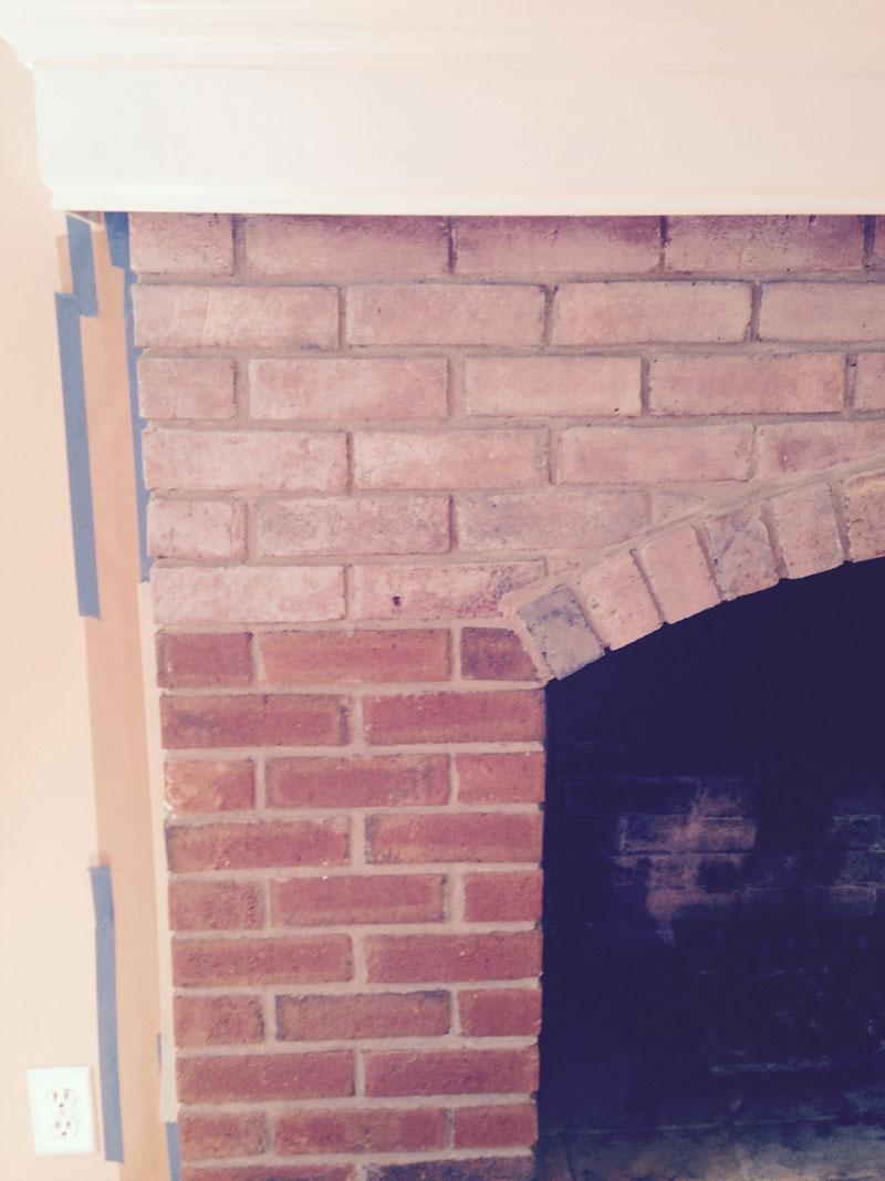 Brick fireplace mid whitewash