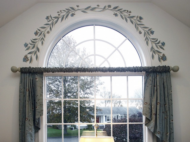 Window with floral border
