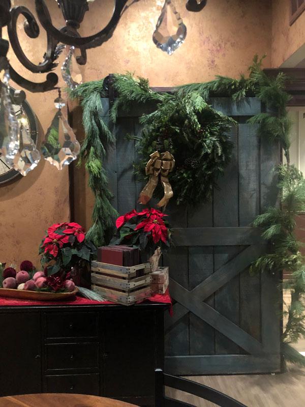 Barn door with chandelier