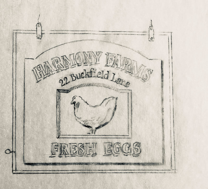 Sharon's sketch of the new sign