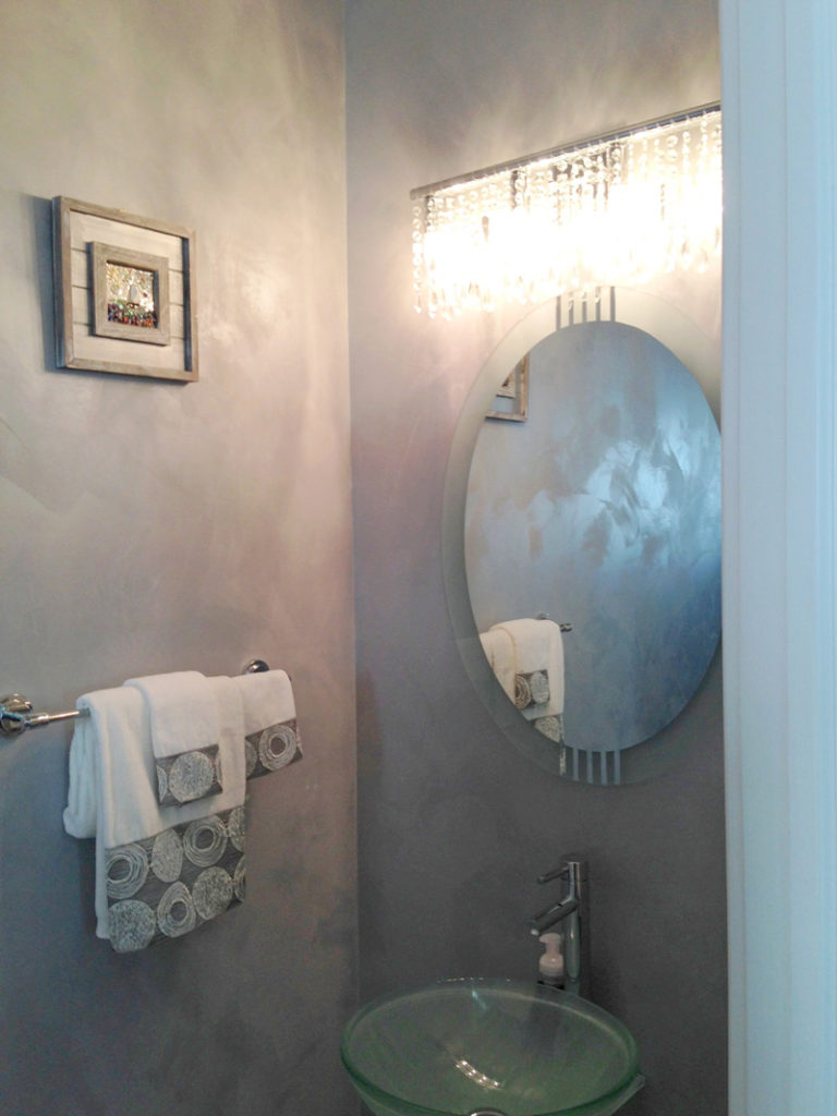 This powder room illustrates LusterStone in its purest form