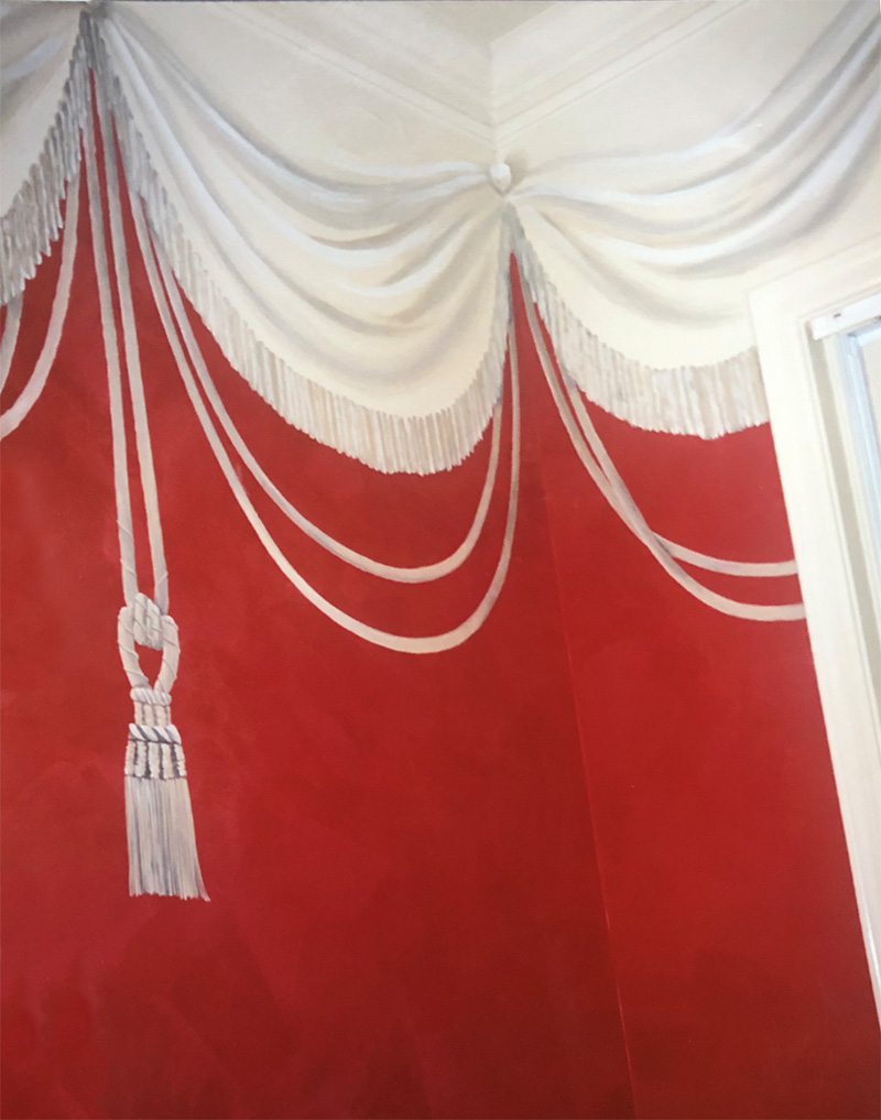 Lusterstone used for red curtain