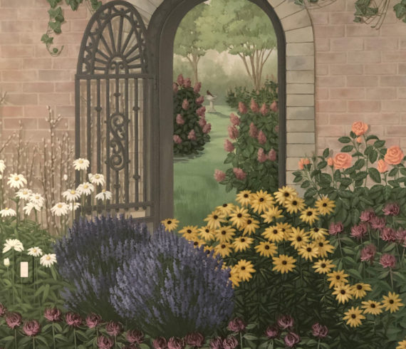 Partial garden shot with door and gate and flowers