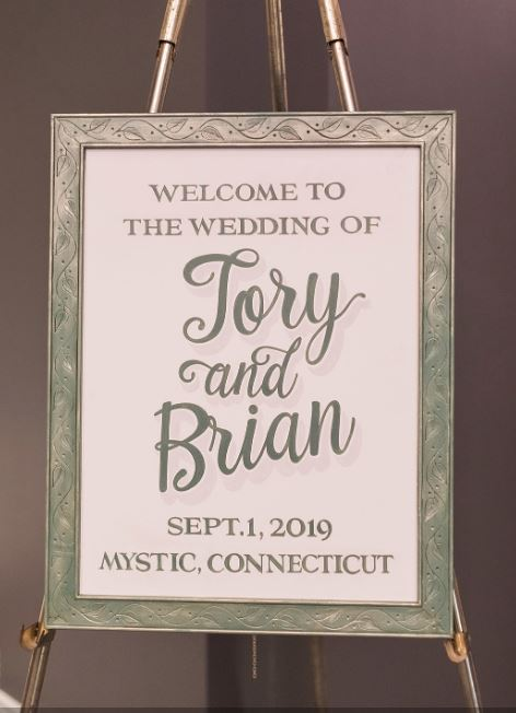 Welcome to our wedding sign in lobby