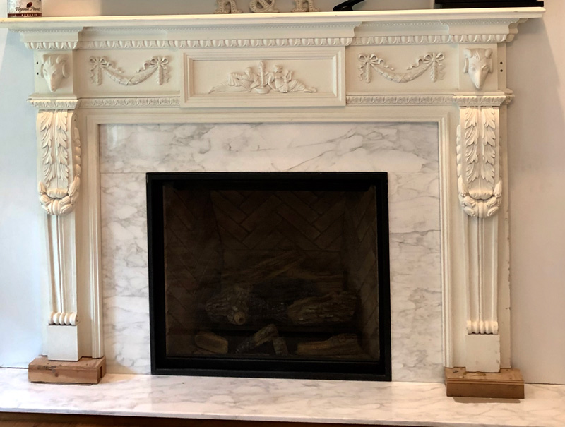 Unpainted fireplace