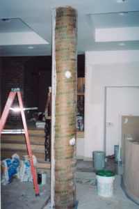 Column wrapped in sono tube