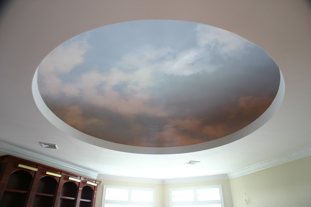 Ceiling with clouds painted