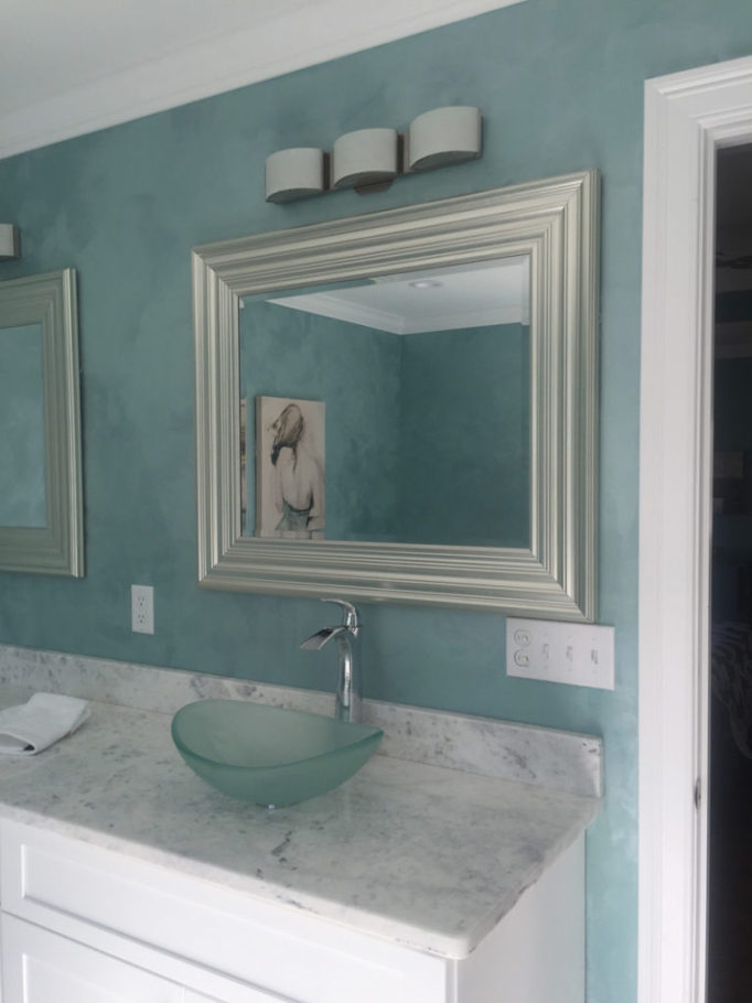 Artisan finish bathroom in aqua