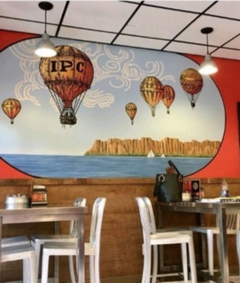 Air Balloon Mural in restaurant