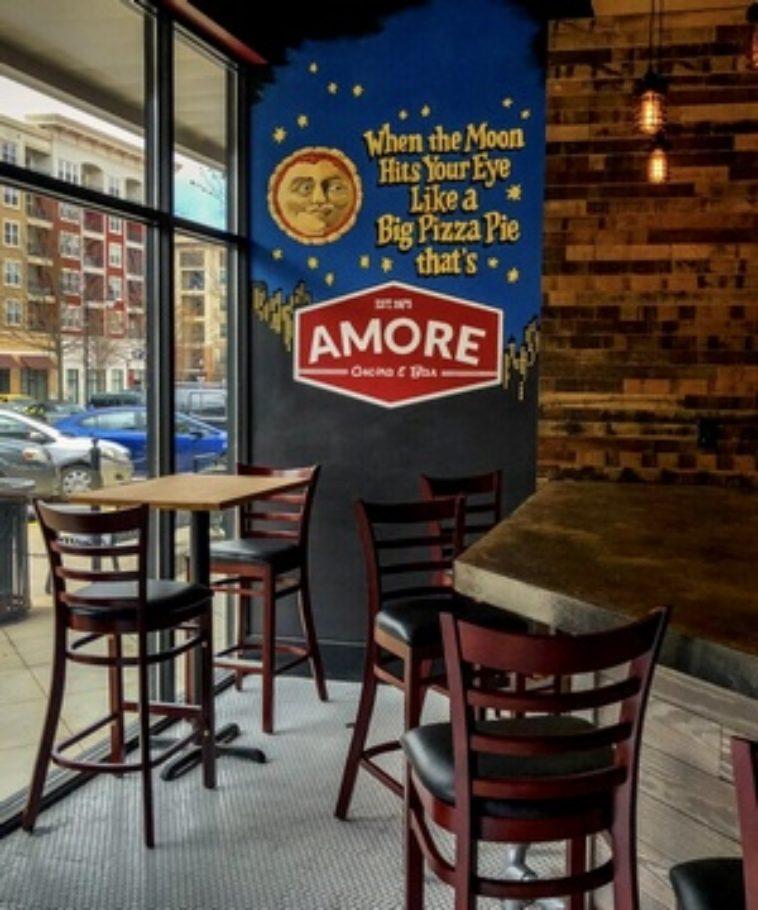 Moon mural in Atlanta Restaurant