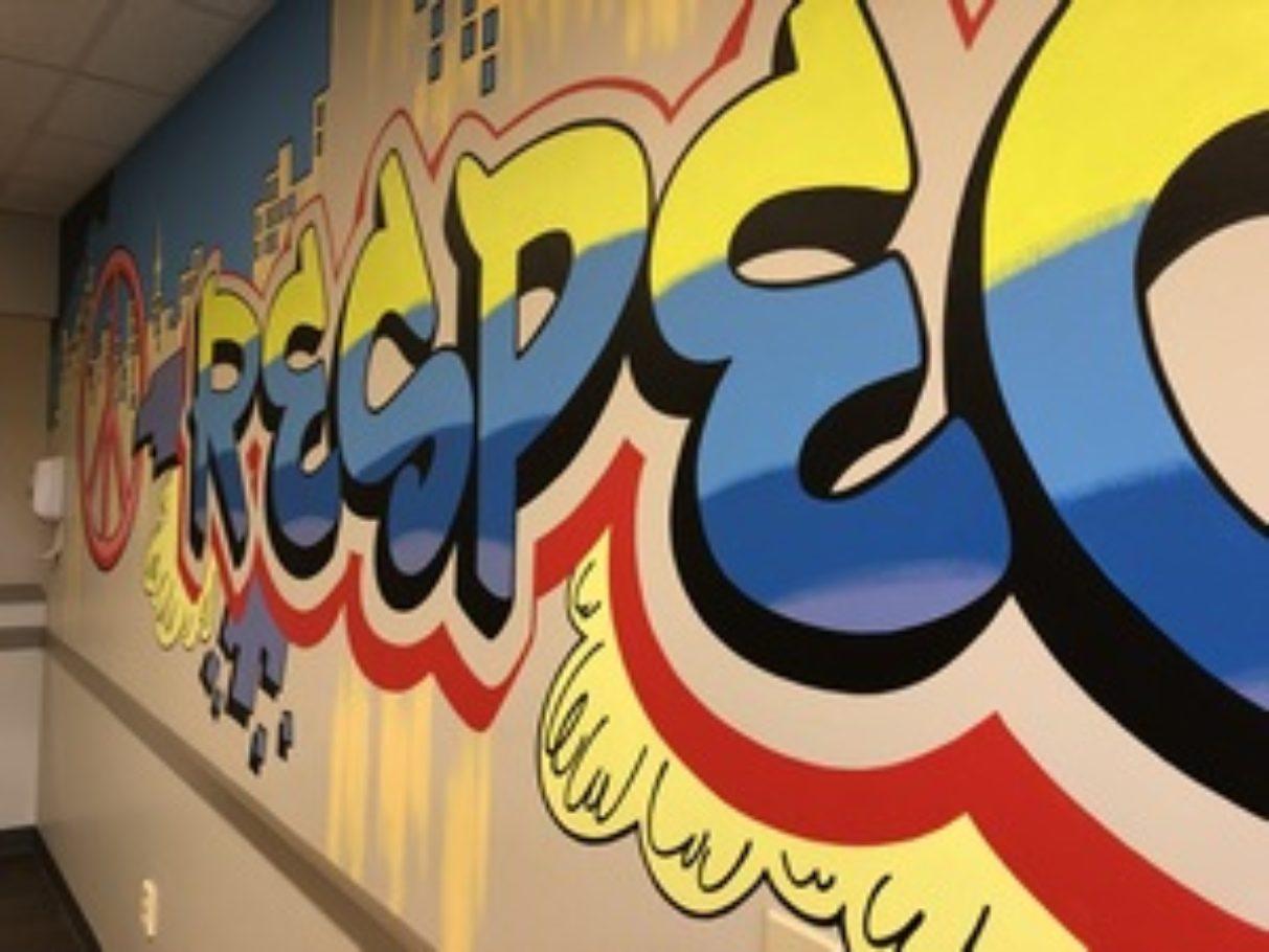 Fun grafitti lettering in doctors office