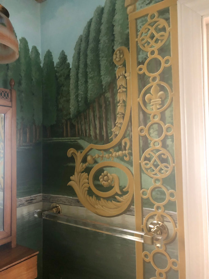 Scrollwork in powder room