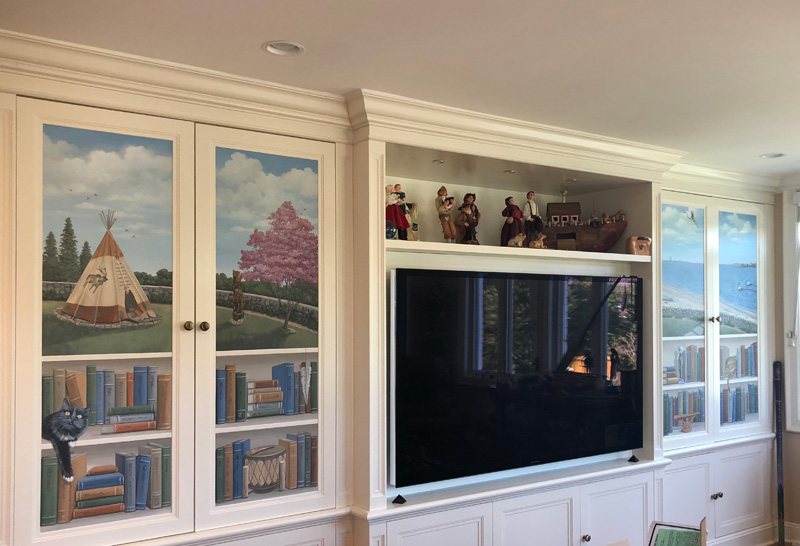 Bookcases painted on cabinetry