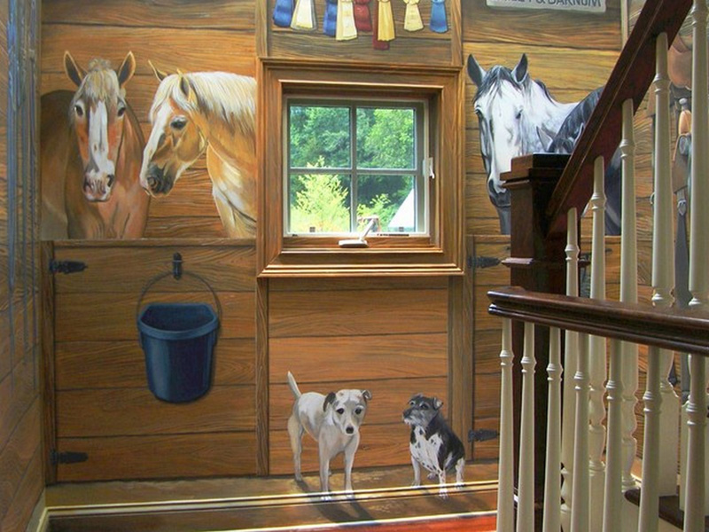 Stair landing with horses and dogs