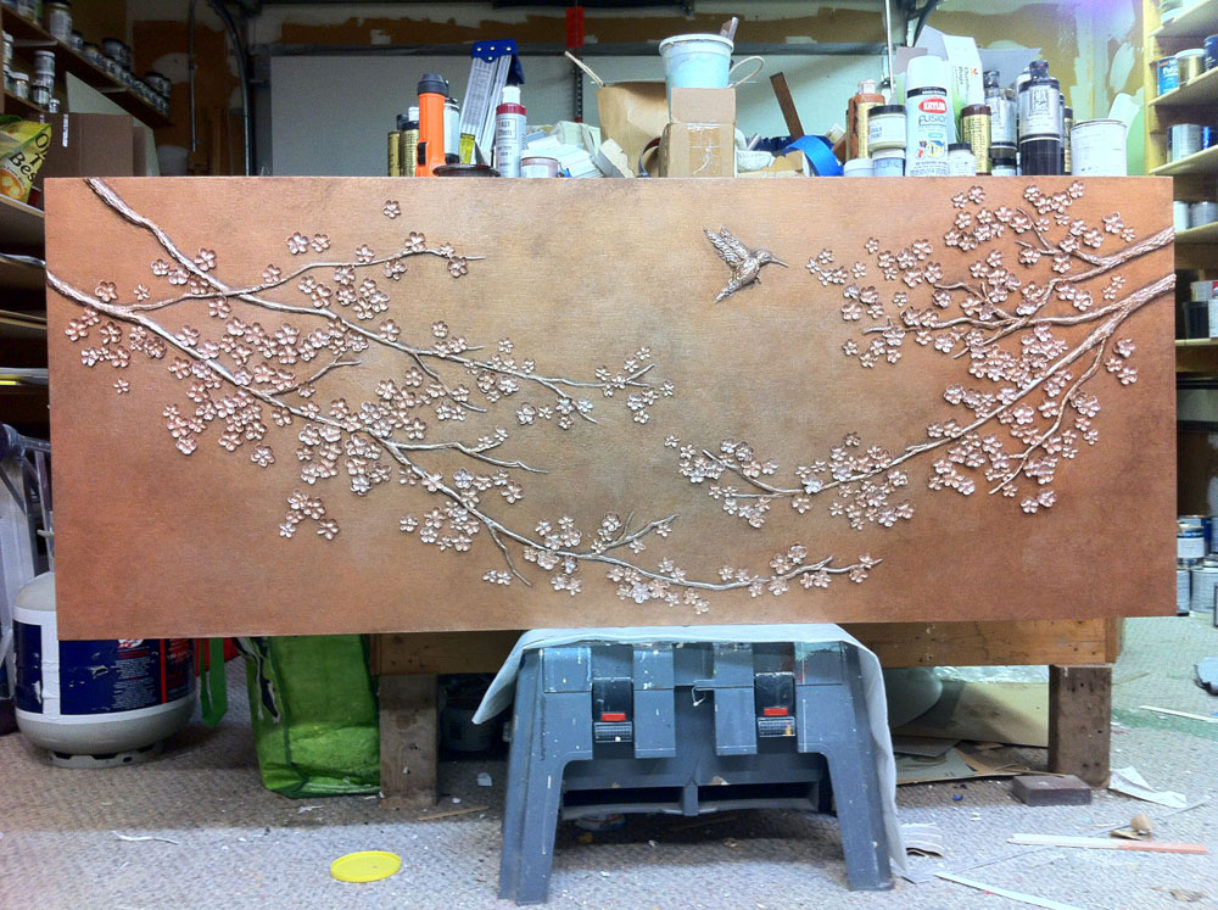 Cherry Blossoms bas relief