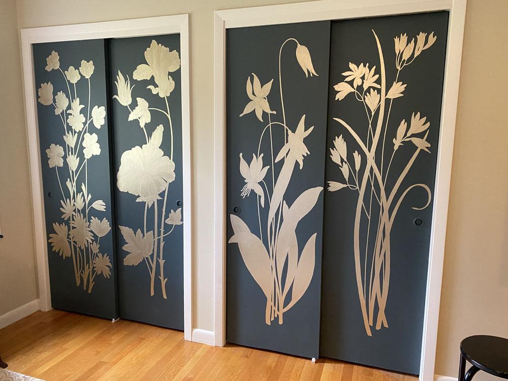 Closet doors with metallic coat