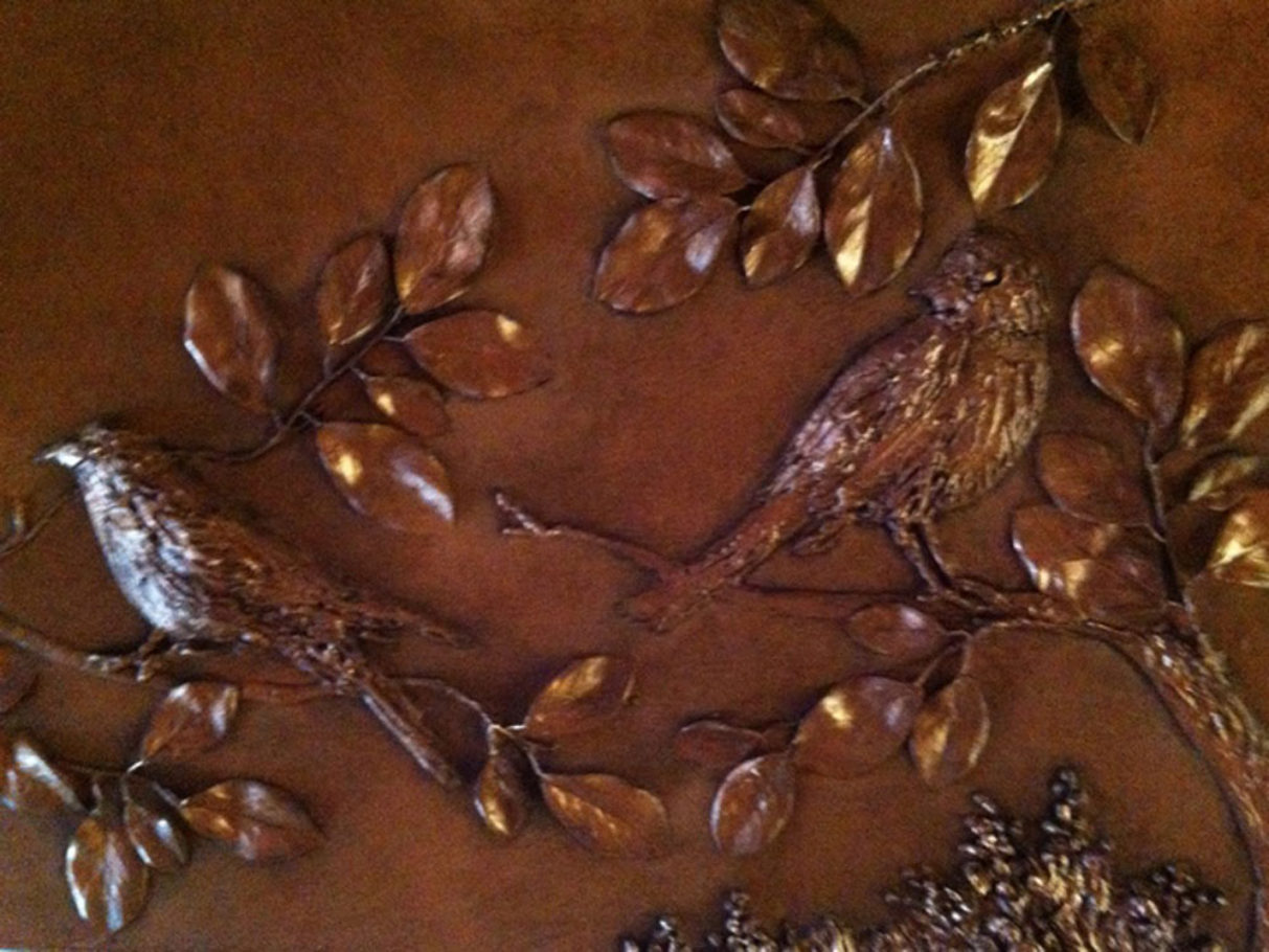 Bas Relief hummingbird and branches
