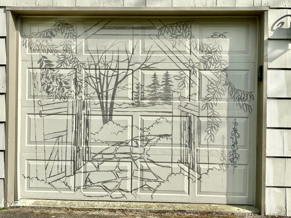 Door outlined in charcoal