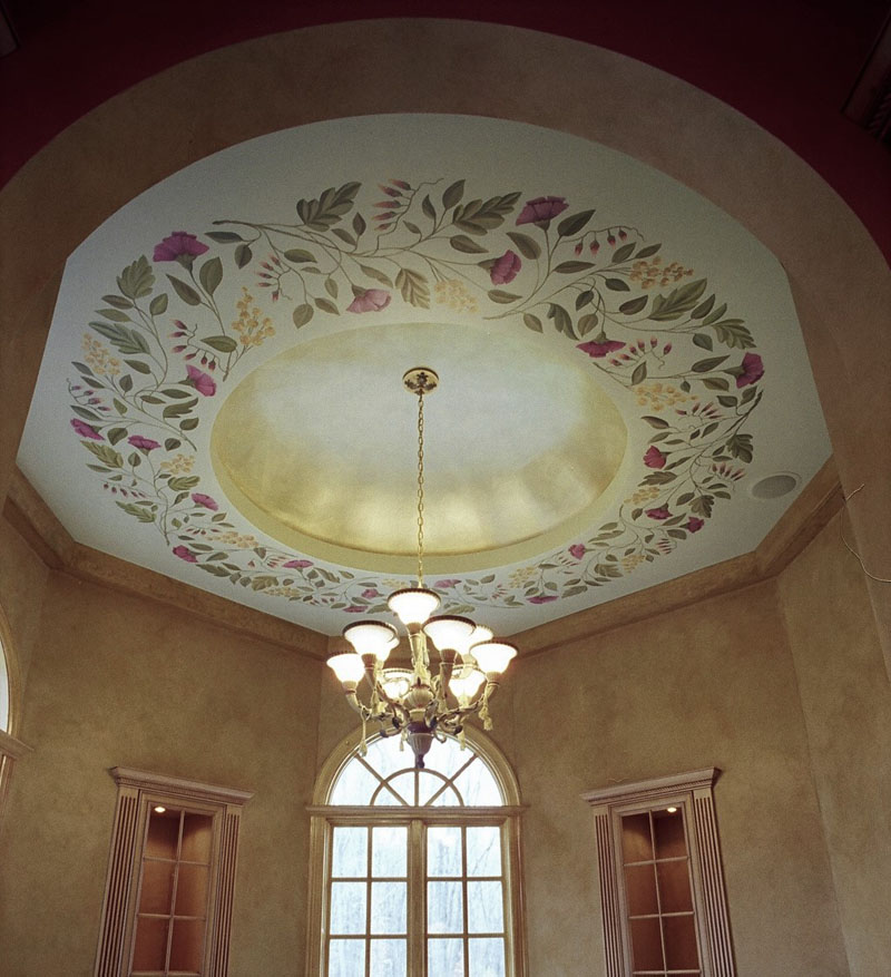Hand painted flowers on dome