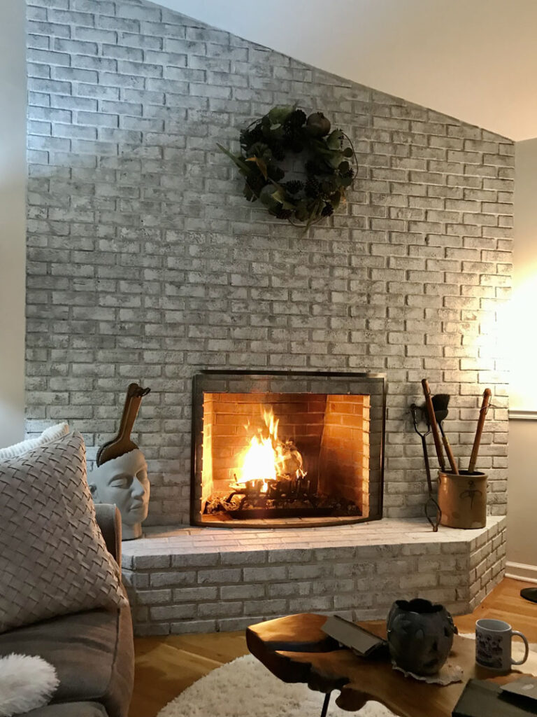 Fireplace with roaring fire