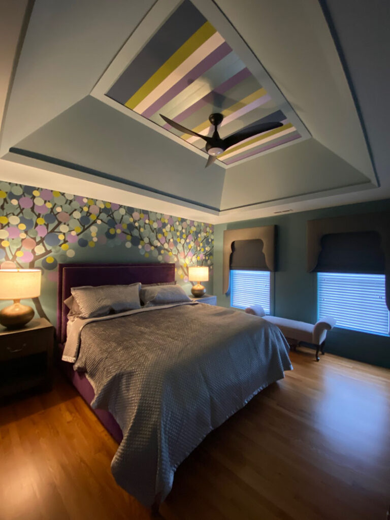 Finished bedroom from angle view