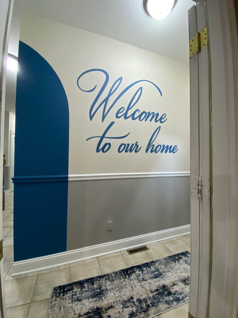 Hallway view of lettering