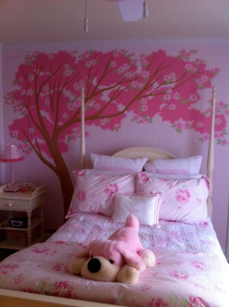 Cherry blossoms on bedroom wall